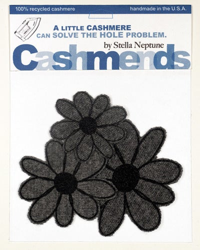 Image of Iron-on Cashmere Flowers - Dark Grey