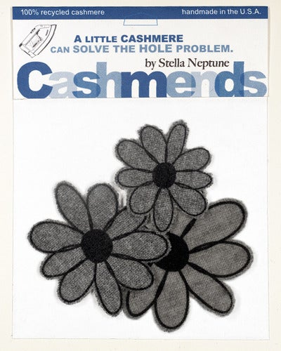 Image of Iron-on Cashmere Flowers - Medium Grey