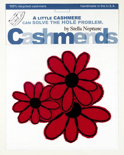 Image of Iron-on Cashmere Flowers- Classic Red