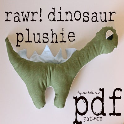 Image of 'rawr!' dinosaur pdf pattern