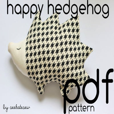 Image of happy hedgehog pdf pattern
