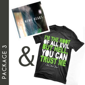 """Image of Package 3: """"Root Of All Evil"""" T-Shirt & """"Prospects"""" CD"""