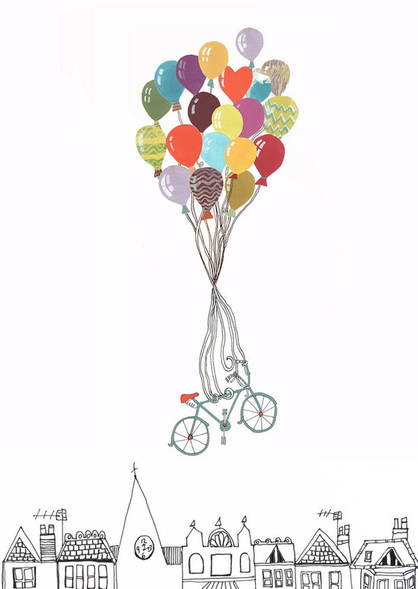 Image of 'Flying Away' Birthday Bicycle Balloons Card