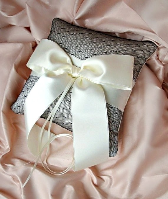 Image of Ivory Silk Dupioni Black Esprit Net Ring Bearer Pillow