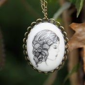 Image of Cordelia Illustrated Porcelain Pendant