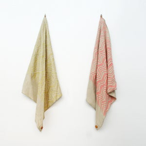 Image of Linen Button Scarf - Pink or Gold Chevron on Natural Linen