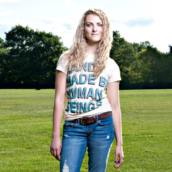 Image of Girls Handmade By Humans tee shirt - creme authentic American Apparel slim fit 100% cotton tee