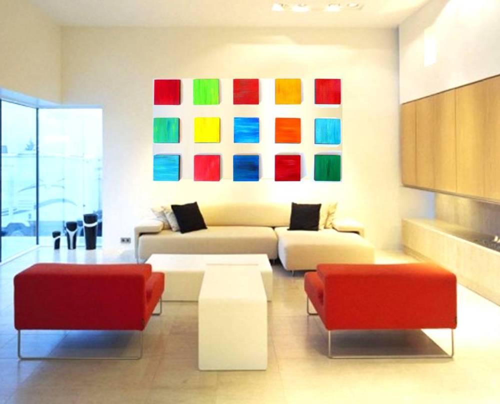 Colorful Wall Art | Modern Wall Art | Wood Art | Modern Living Room ...
