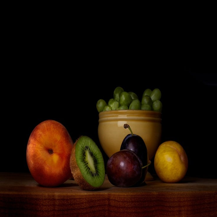 Image of Orchard peach, Kiwi fruit, Prune plums, Yellow plum, Green grapes