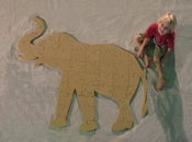 Image of Unfinished READY TO PAINT Wooden Animal Puzzle Elephant Cutout