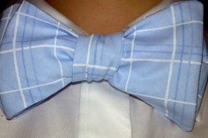 Image of Pastel Blue/White Plaid Bow Tie