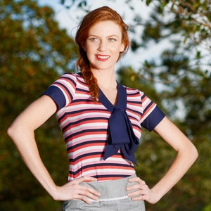 """Image of Pink, Navy & White Stripe """"Marie Bow Top"""" Knit Jersey T-shirt, w Navy Large Bow"""