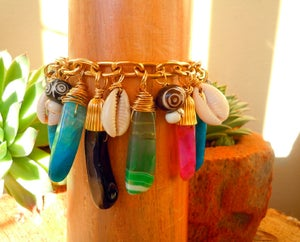 Image of Colorful Agate and Cowrie shell Charm Bracelet