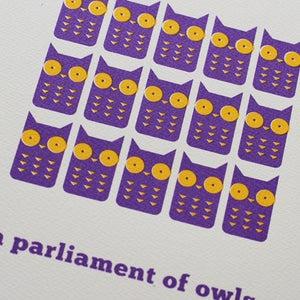 Image of 'A Parliament of Owls' screenprint