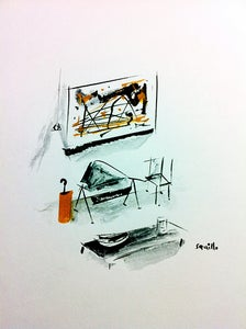 Image of Drawings of Paintings and their Matching Furniture #7