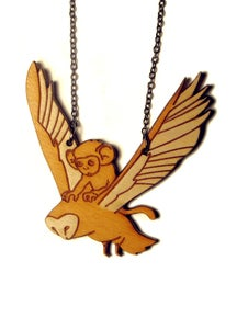 Image of Monkey Riding an Owl Necklace