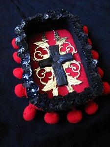 Image of Black Cross Milagro Nicho with vintage gold foil applique