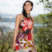 Image of Hibiscus Wrap Around Halter Dress, Printed Cotton Summer Dress w A-line Knee Length Skirt, Gathered