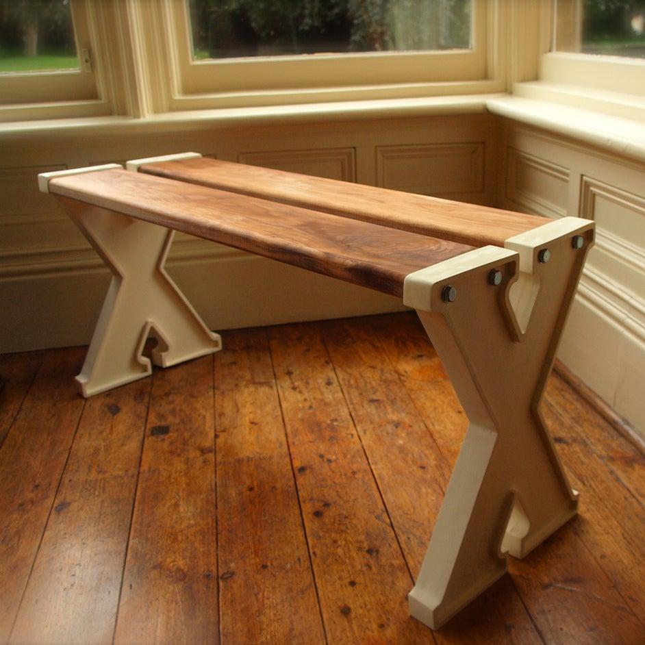X Bench Aluminium Oak Adam Xander