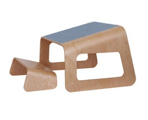 Image of Knelt™ Birch with unique mid-Blue pad and clips.