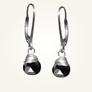 Image of Candy Drop Earrings with Black Spinel, Sterling Silver