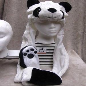 Image of Long Panda Hat w/Mittens