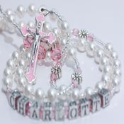 Image of Personalized Pearl & Pink Crystal Rosary