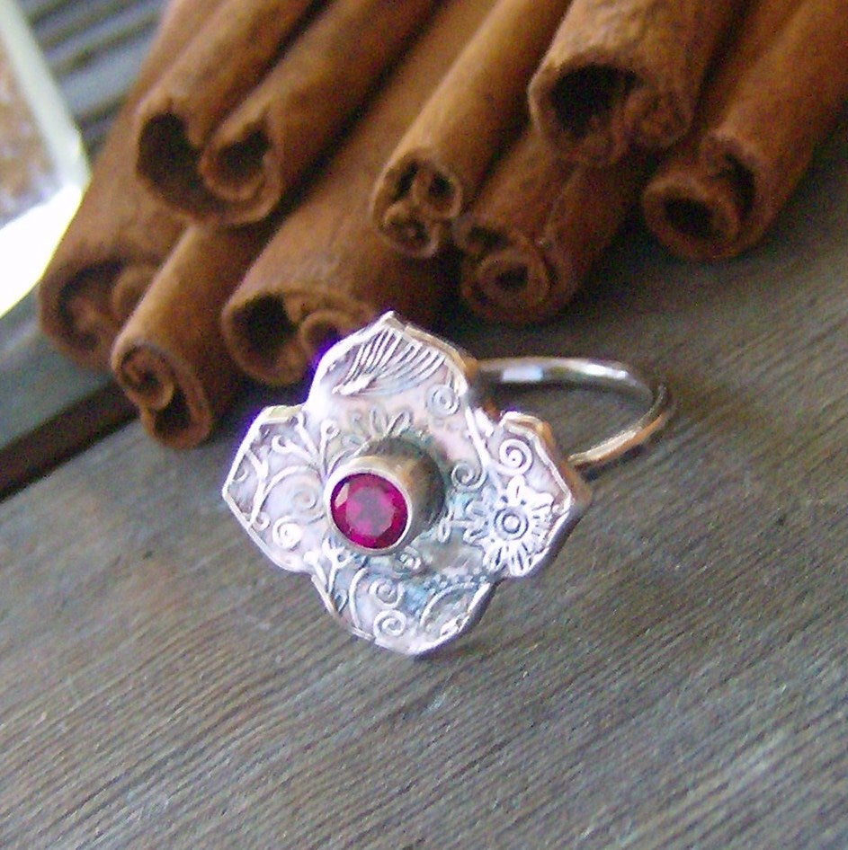 Image of Moroccan Twilight gem stone hand stamped fine silver ring
