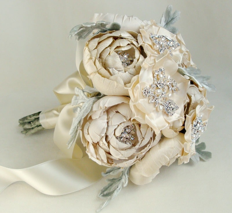 Image of Ivory and Cream Silk Catala and Jeweled Bloom Bridal Bouquet w/ Velvet Leaves
