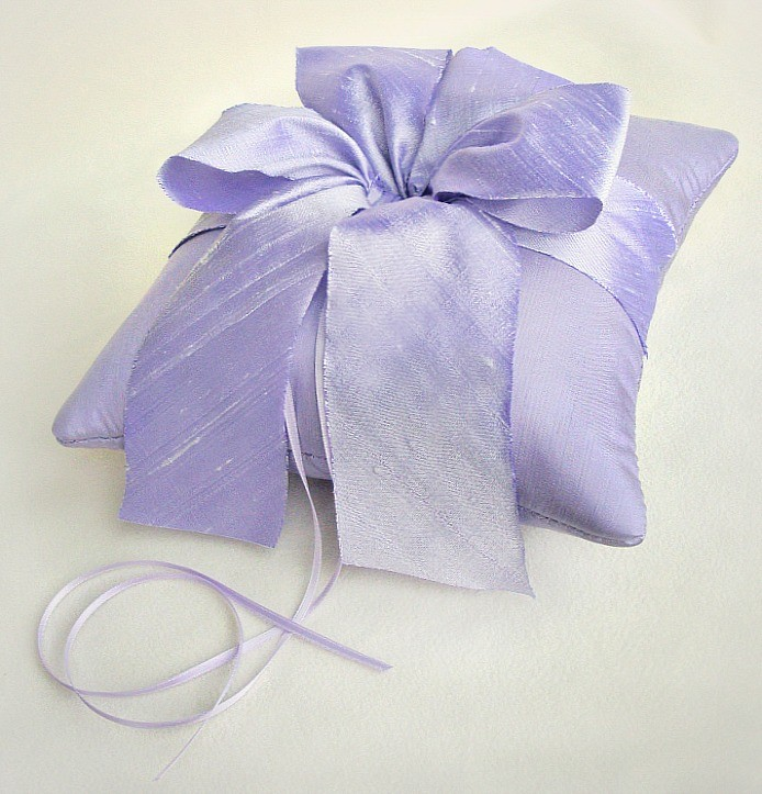Image of Alena Silk Dupioni Ring Pillow in All Lavender