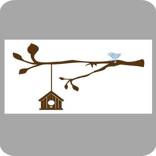 Image of Birdhouse, Bird and Branch