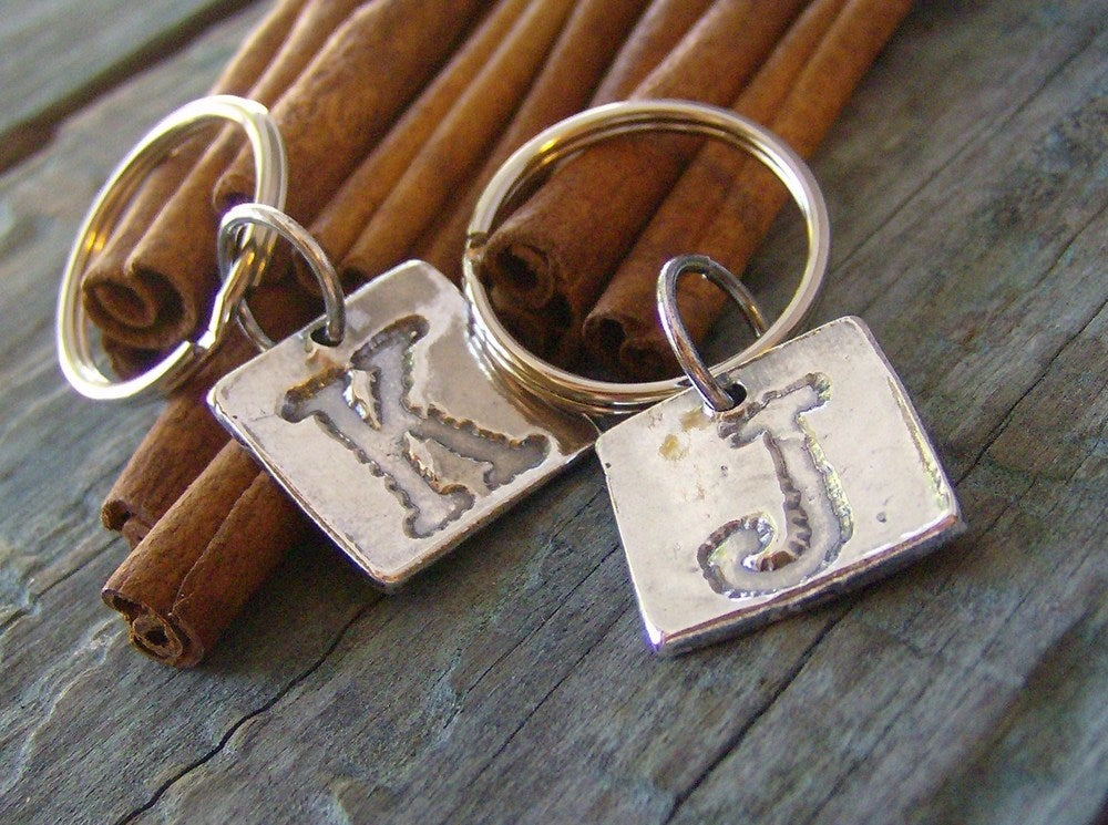 Image of Fine Silver initial Key Chain Capital letter