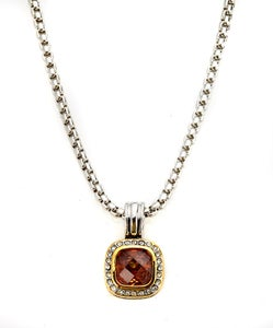 """Image of Trophy Wife ~ DY inspired """"diamond"""" bordered Cubic Zarconia pendant"""