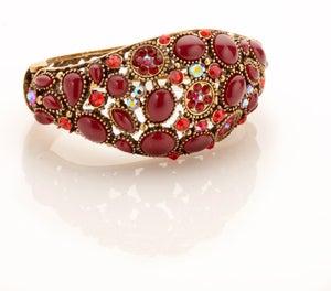 Image of Bejeweled Arabian Nights Bracelet with carved hinge back