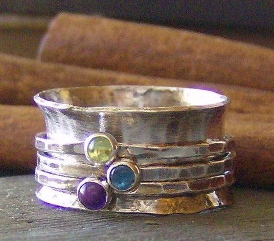 Image of Natural gemstone hand stamped birthstone spinner ring meditation ring