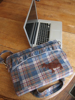 "Image of Men's coat Computer Bag:  Cloudy Days are Good For Coffee. (15"" LapTop Case)"