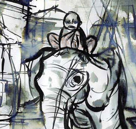 Image of Buddha On Elephant Ink Drawing