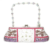 Image of Satin Love -Beaded embroidered satin clutch purse