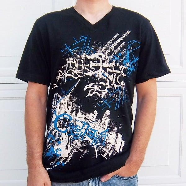 Image of Man's T-shirt Cyrillic Wear Urban Russian CCCP USSR Ukrainian Black 4