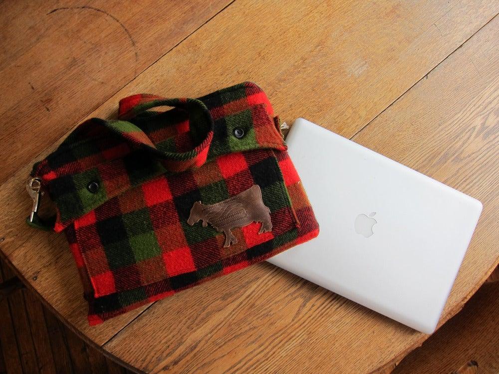 "Image of Morning Coffee... Black. Men's Coat turned Computer Bag  (15"" Laptop Computer Case)"