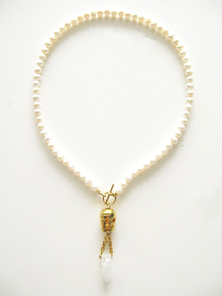Image of PEARL SKULL NECKLACE
