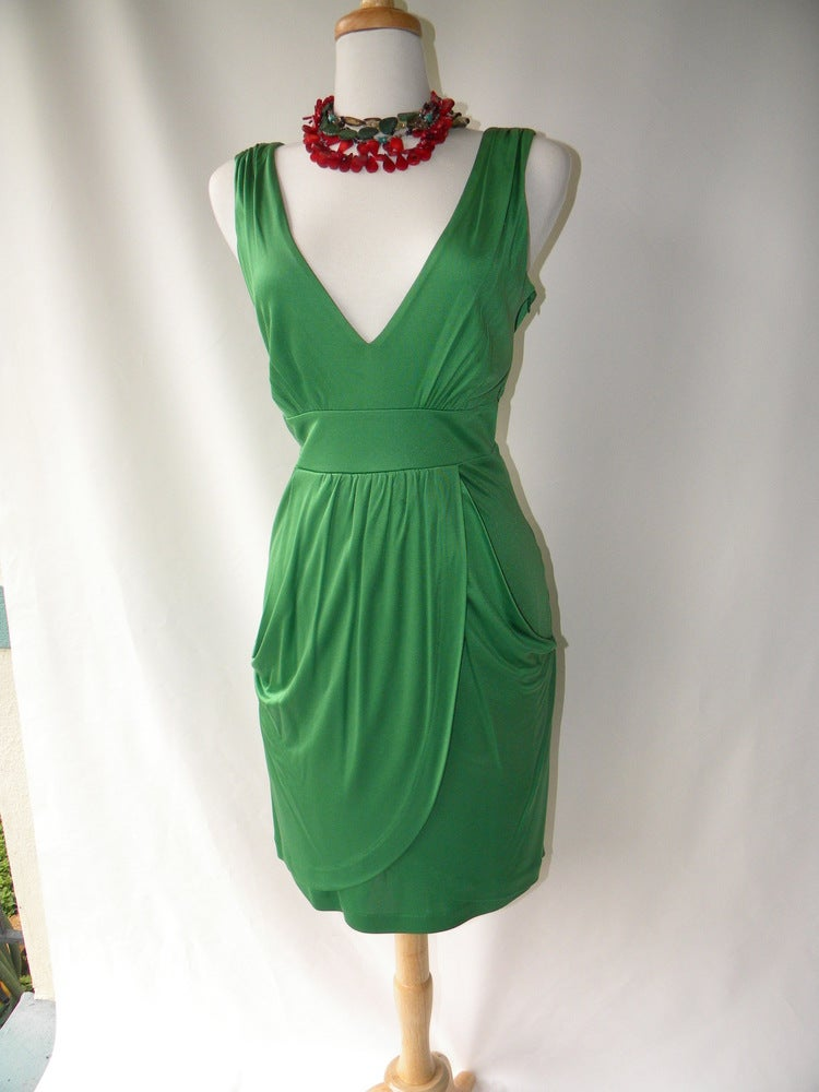 Image Of Tibi Green Silk Dress
