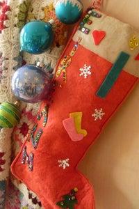 Image of stocking   red felt