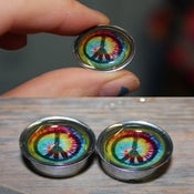 Image of Tie Dye Peace Sign Plugs