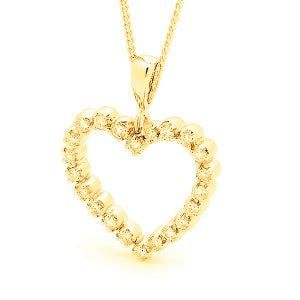 Image of Classic Heart Pendant - In 9ct Solid Yellow Gold with Diamonds