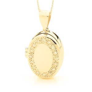 Image of Oval Locket - Traditional in 9ct Yellow Gold With Cubic Zirconia's