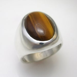 Image of Mens Large Oval Tiger Eye Ring in Sterling Silver