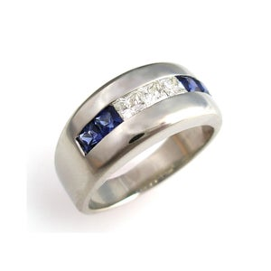 Image of Mens Ring with Sapphires and Diamonds