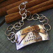 Image of Family Banner  Hand stamped personalized Id style Sterling silver soldered faimly bracelet