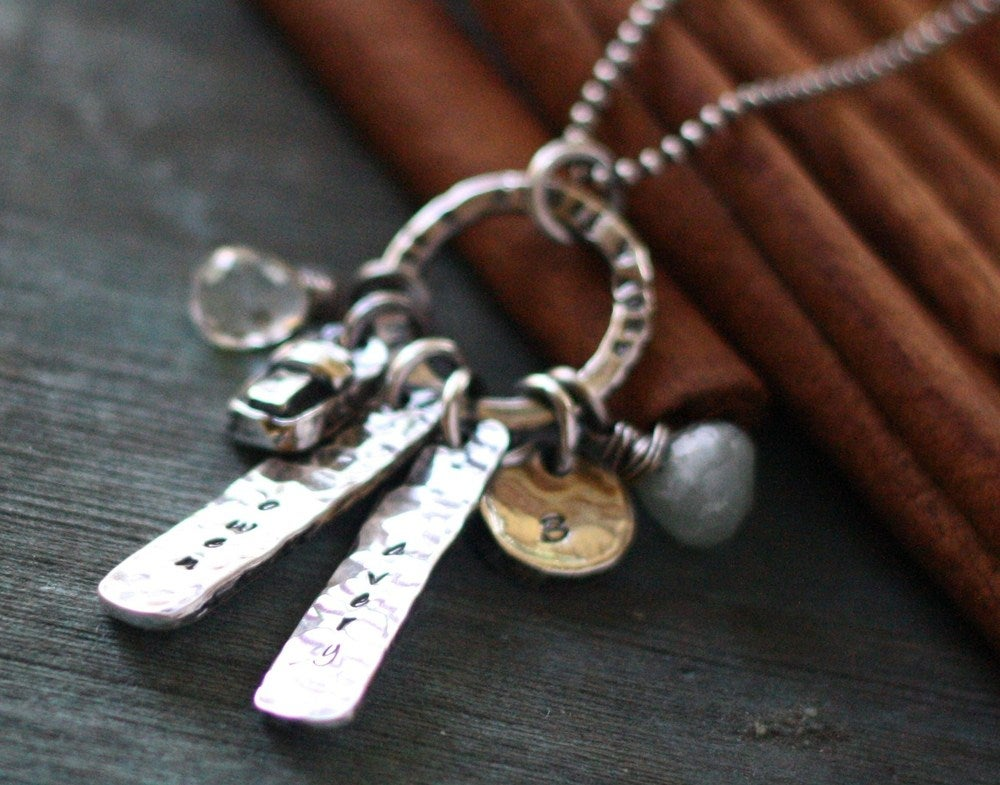 Image of rustic love hand stamped fine silver and gem stone mother's necklace